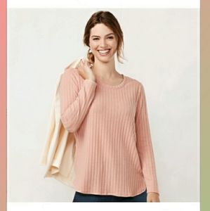 NWT LC Lauren Conrad ribbed pink tunic top
